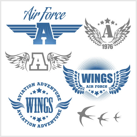 Air Force shields and labels with wings isolated on white Illustration