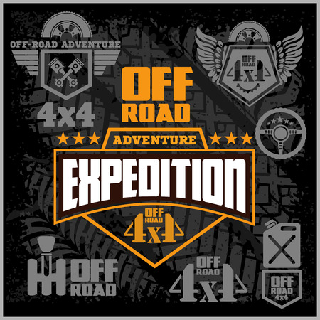 on off: 4x4 Off-road suv car emblems, badges and icons. Off-roading suv adventure and car club elements.