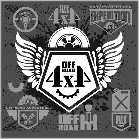 4x4: 4x4 Off-road suv car emblems, badges and icons. Off-roading suv adventure and car club elements.