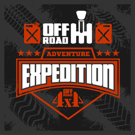 4x4: Expedition - vector emblem with 4x4 vehicle off-road design elements
