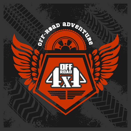 4x4: Adventure 4x4 off-road - grunge emblem and design elements
