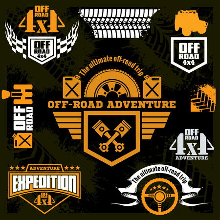 offroad: Set off-road suv car emblems, design elements, badges and icons. Rock crawler car, off-road suv adventure and car club design elements.