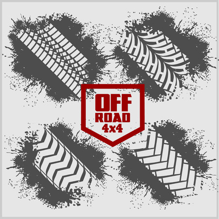 off road: Off road set - dirty tire tracks and grunge ink paint splat