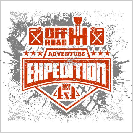 Expedition - vector embleem met 4x4 off-road design elements Stock Illustratie