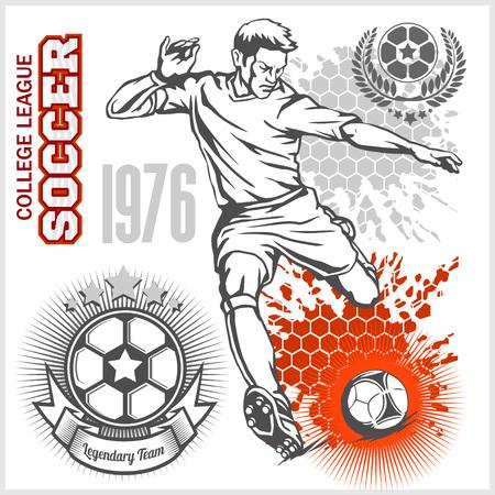 kicking: Soccer player kicking ball and football emblems, design elements. Illustration