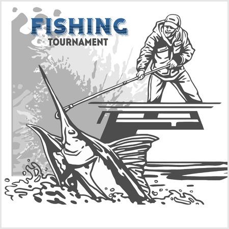poissons Marline dans les vagues avec une canne à pêche sur fond rétro grunge pour la création Vecteurs