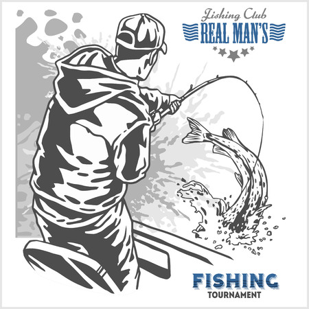 Fisherman and fish -  vintage two color illustration Illustration