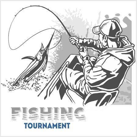 man fishing: Merlin peces en las ondas con caña de pescar en el fondo de grunge retro para la creación Vectores