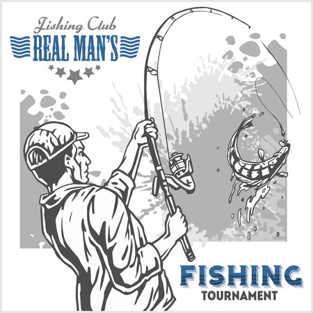 free diver: Fisherman and fish -  vintage two color illustration Illustration