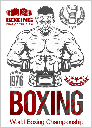destroying the competition: Boxing Club Logo. Boxing Emblem, Label, Badge, T-Shirt Design. Boxing Club T Shirt. Fight Brutal Theme. T Shirt Hoodie. Boxing Club Training. Boxing Club For Man. Boxing Club Fights. Illustration