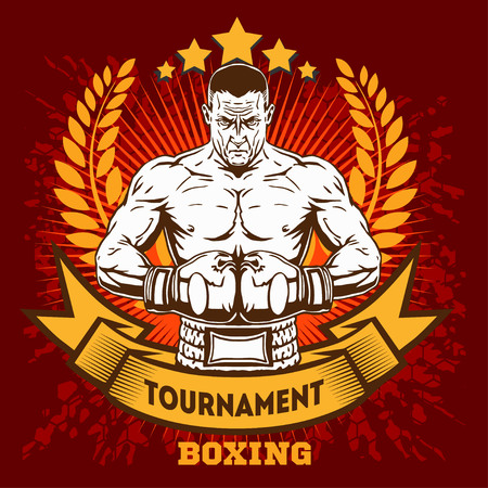 Vintage boxing emblem, label, badge, logo and designed elements on grunge background. 矢量图像