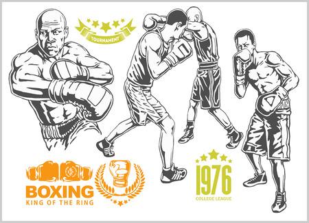 boxeador: Lucha entre dos boxeadores - conjunto de la vendimia en blanco y negro illustrations.Plus emblemas de boxeo, etiquetas, insignias, logotipos y elementos diseñados. estilo monocromático.