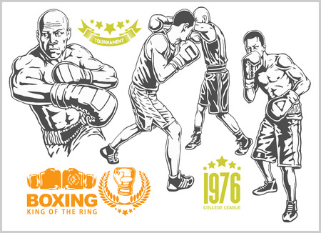Fight between two boxers - set of monochrome illustrations.Plus vintage boxing emblems, labels, badges, logos and designed elements. Monochrome style. Illustration