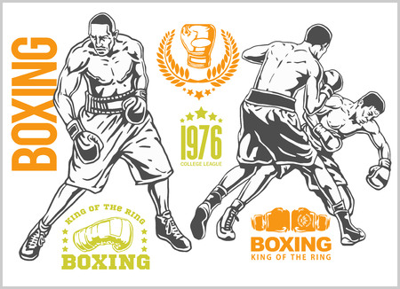 knockdown: Fight between two boxers - set of monochrome illustrations.Plus vintage boxing emblems, labels, badges, logos and designed elements. Monochrome style. Illustration