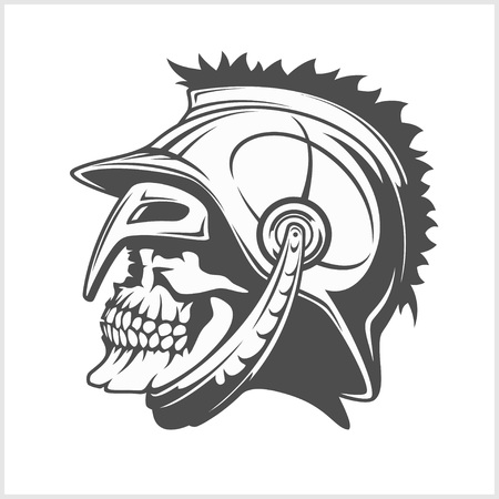 legionary: Skull Roman legionary - Vector image of skull in  helmet. Illustration
