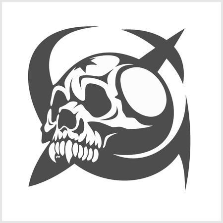 uni: Uni soviet star and USSR skull isolated on white Illustration