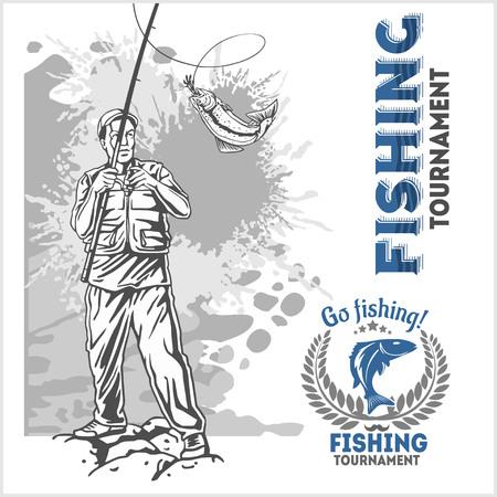 fisher man: Fishing  - monochrome fisherman with a fishing rod on grunge background