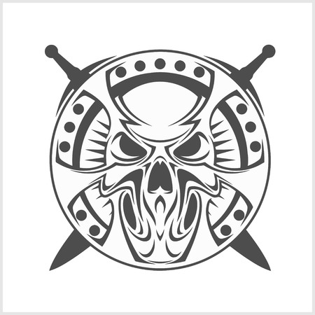 gladius: Monochrome Medieval skull isolated on white. Vector.