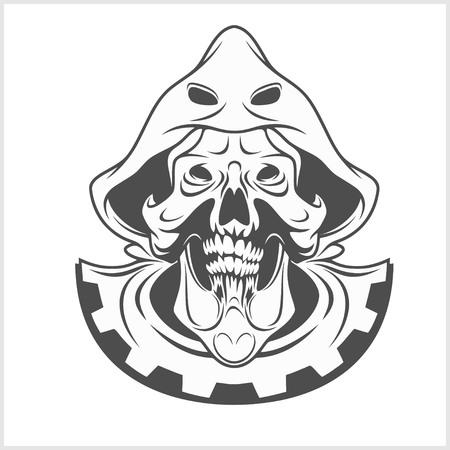 mercenary: Monochrome Medieval skull isolated on white. Vector.