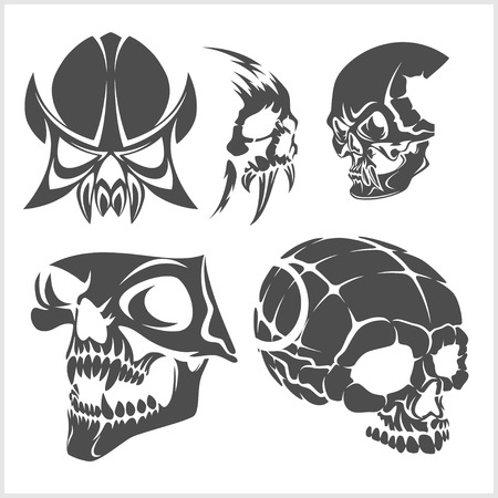 Set of skulls isolated on white. Vector illustration. Illustration