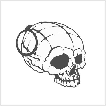 Military skull - grenade in the form of a skull. Vector illustration. Illustration