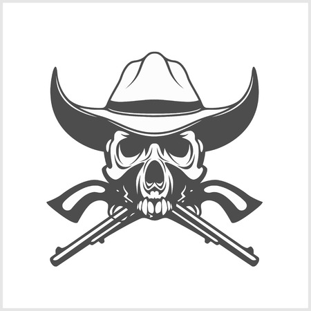 gang member: Gangster skull with cowboy hat and pistols. Vector.