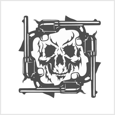 gang member: Gangster skull and frame of pistols. Vector. Illustration