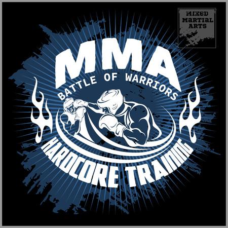 Boxeo y artes marciales logotipo, insignia o etiqueta de estilo vintage. Ilustración vectorial