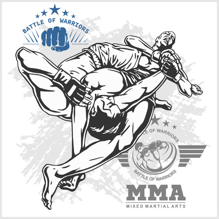 ultimate: Match two fighters of martial mixed arts on grunge background and labels. Illustration