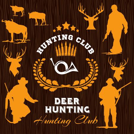 huntsman: Hunter Silhouette on dark wooden background - vector set