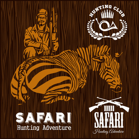 safari animals: Set of Hunting Labels on wooden bakground. Advertising Hunter Equipment.