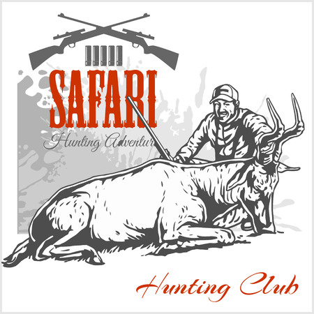 seal gun: Hunting trophy antelope - African safari monochrome illustration and label for hunting club
