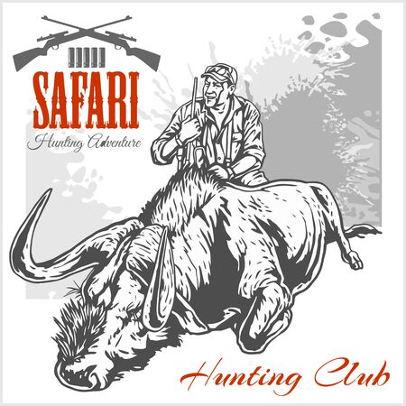 killed: Hunting trophy antelope - African safari monochrome illustration and label for hunting club