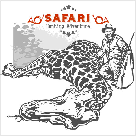 killed: Hunting trophy giraffe - African safari monochrome illustration and label for hunting club