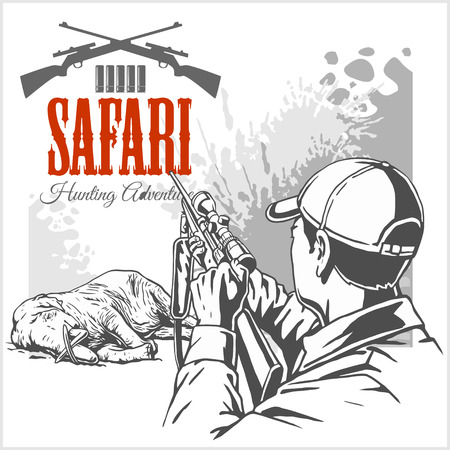 killed: Hunting trophy elephant - African safari monochrome illustration and label for hunting club