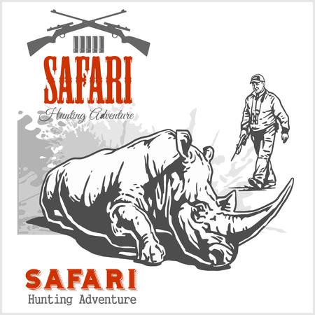 seal gun: Hunting trophy rhinoceros - African safari monochrome illustration and label for hunting club Illustration