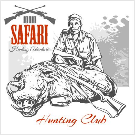 seal gun: Hunting trophy boar - African safari monochrome illustration and label for hunting club