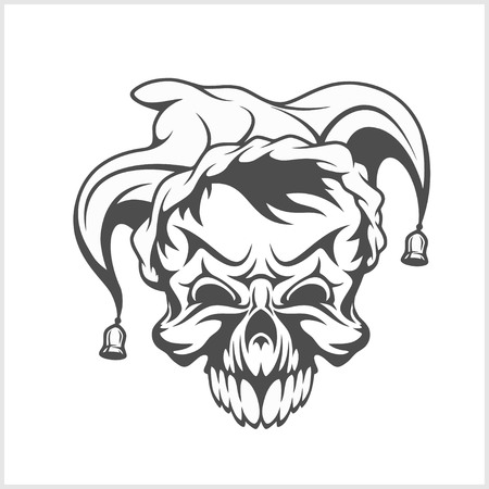 Joker skull wearing a clown jesters cap hat with two bells. Vector isolated illustration. Illustration