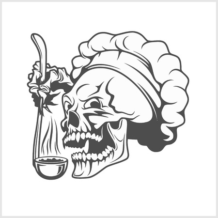 Chef skull in toque. Cook skull with a ladle.