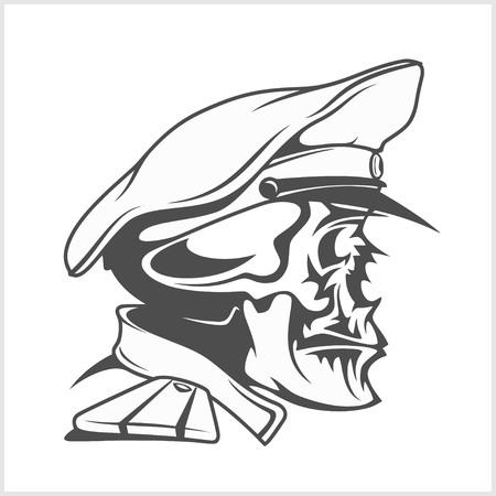mariner: Captain Skull in a hat. Vector isolated illustration.