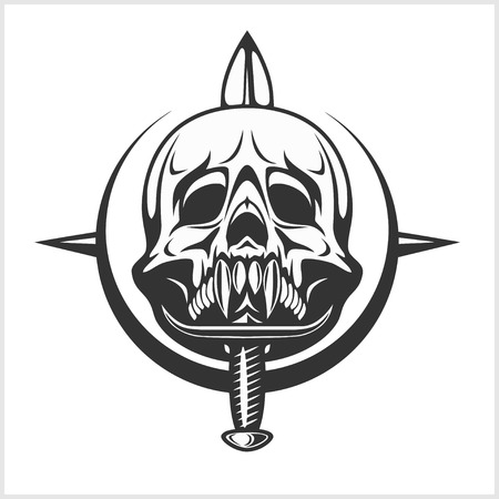 daggers: Military Skull - Emblem Chevron with daggers. Isolated on white.