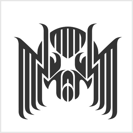 arachnoid: Spider Tattoos in tribal style. Vector Isolated on white.