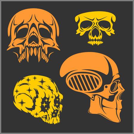 deadly danger sign: Set of skulls isolated on dark. Vector illustration.