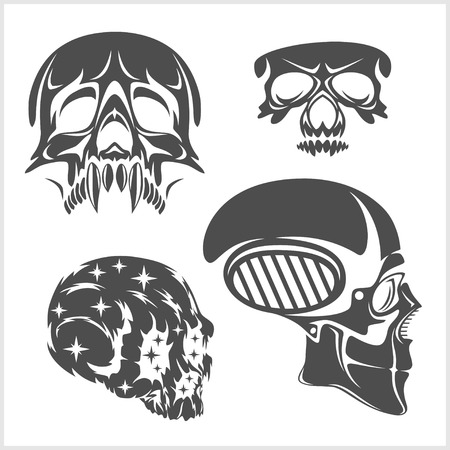 deadly danger sign: Set of skulls isolated on white. Vector illustration. Illustration