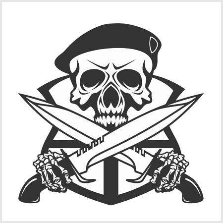 Crâne militaire - emblème Chevron avec des poignards. Isolé sur blanc.