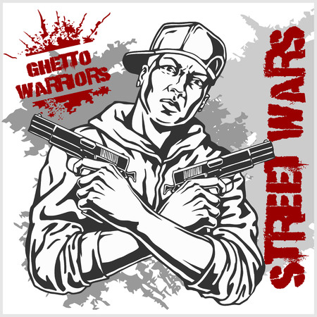 gangsta: Ghetto Warriors vector illustration. Gangster on dirty graffiti white background.