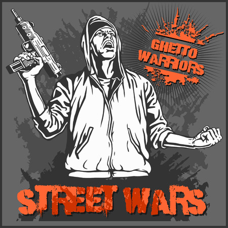 gangsta: Ghetto Warriors vector illustration. Gangster on dirty graffiti dark background.