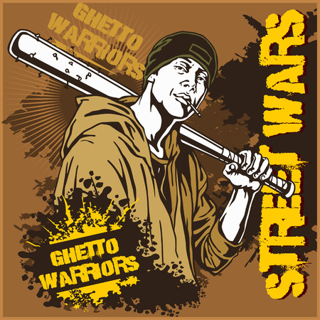 ghetto: Hooligan with baseball bat. Ghetto Warriors. Gangster on dirty graffiti background. Vector illustration.
