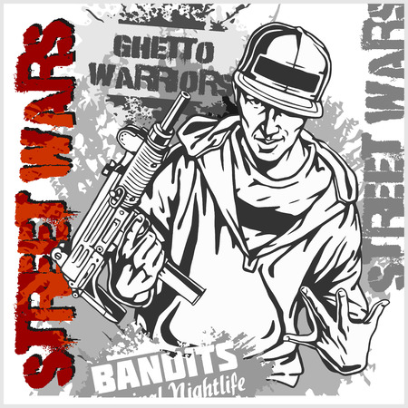 Gungster with an automatic weapon. Ghetto Warriors. Vector illustration