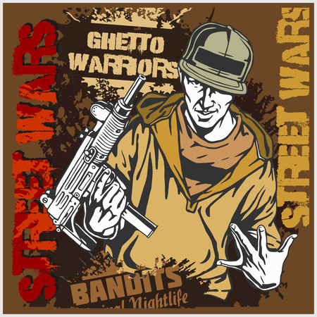 ghetto: Gungster with an automatic weapon. Ghetto Warriors. Vector illustration Illustration